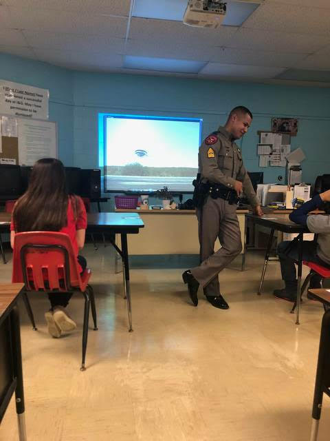 DPS talking to the students