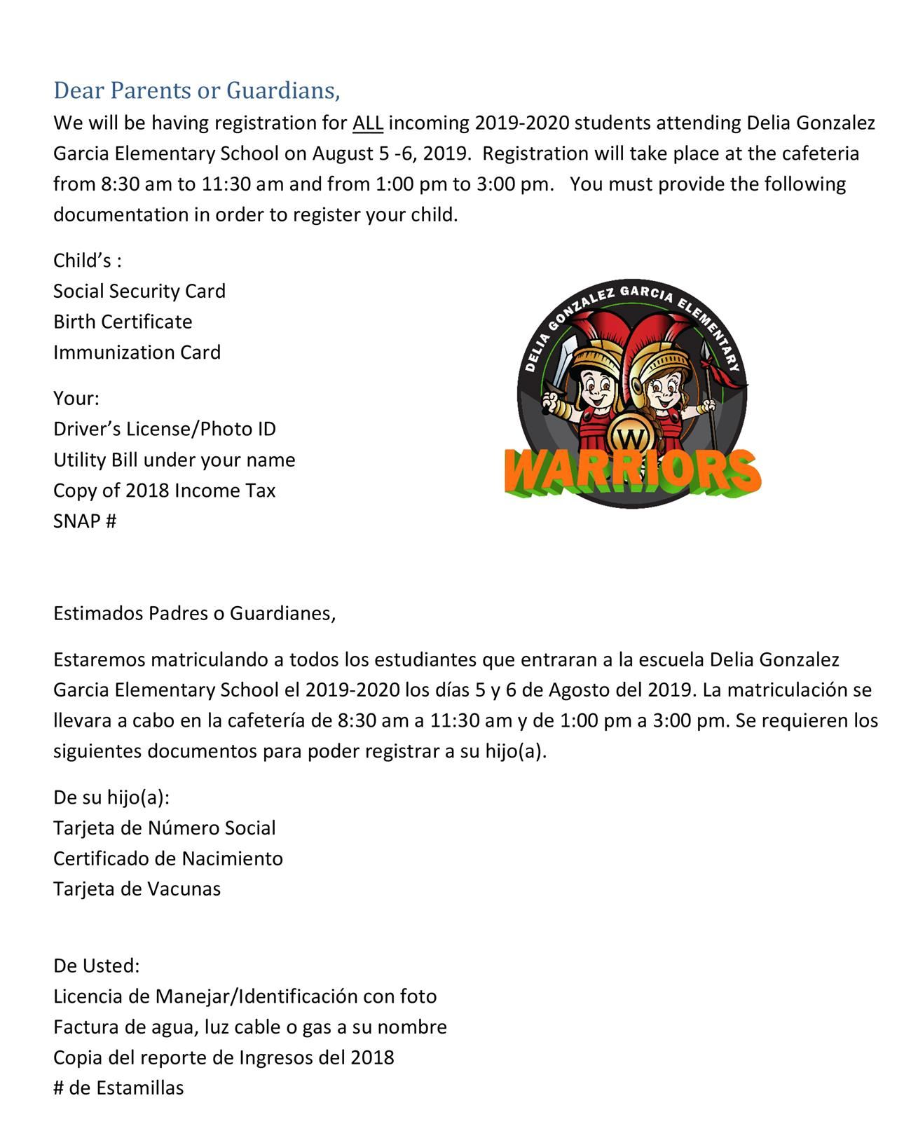Back to School Information / Delia Gonzalez Garcia Elementary