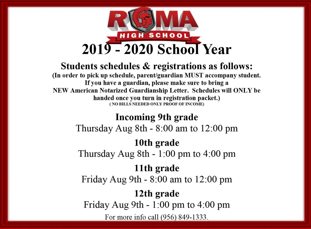 Roma High School Schedule and Registration Flyer