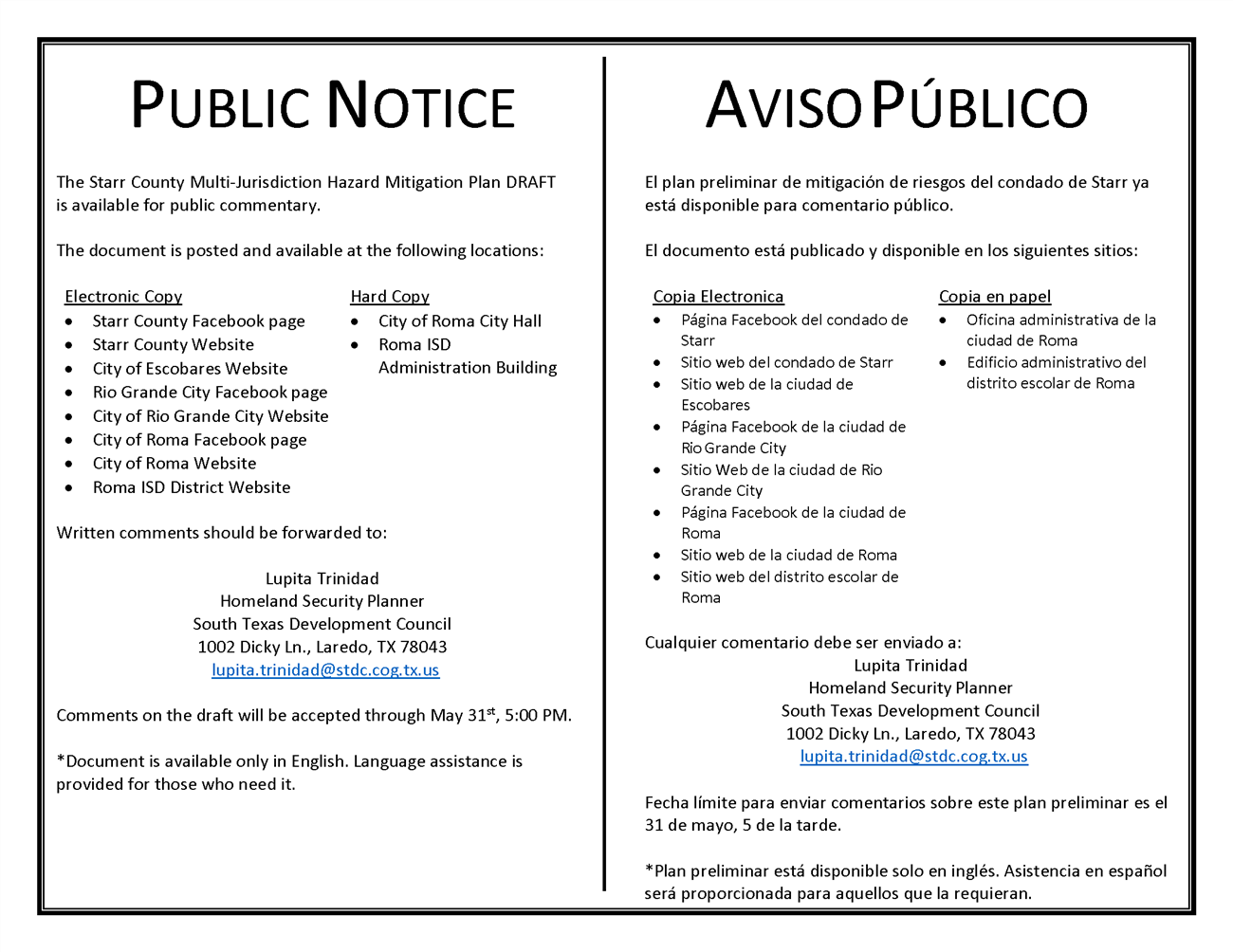 Starr County Public Notice