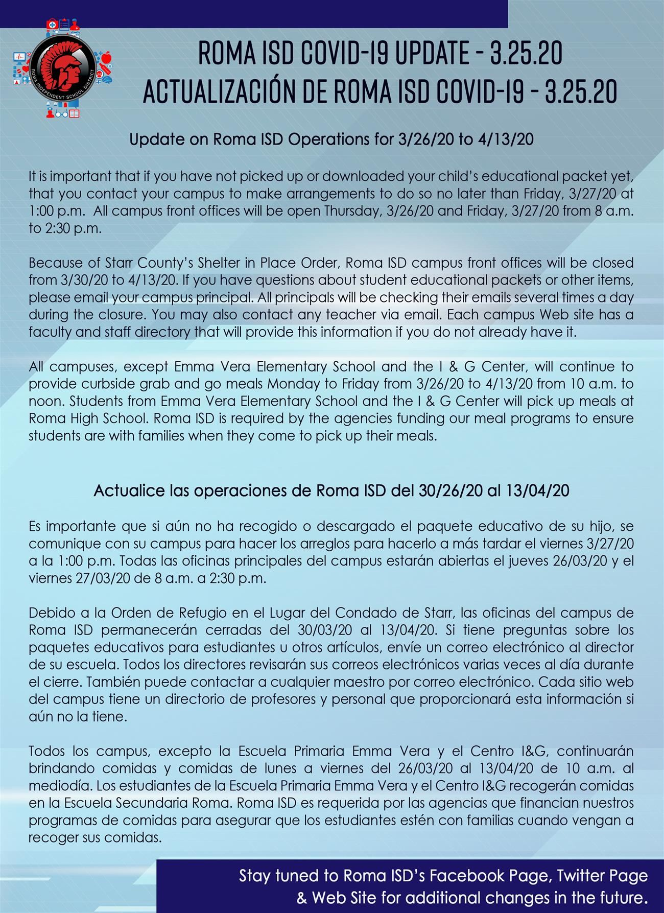 3.25.20 Roma ISD Covid-19 Operations Update