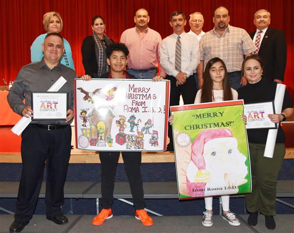 Two Roma ISD Middle School Students Win District Christmas Card Contest