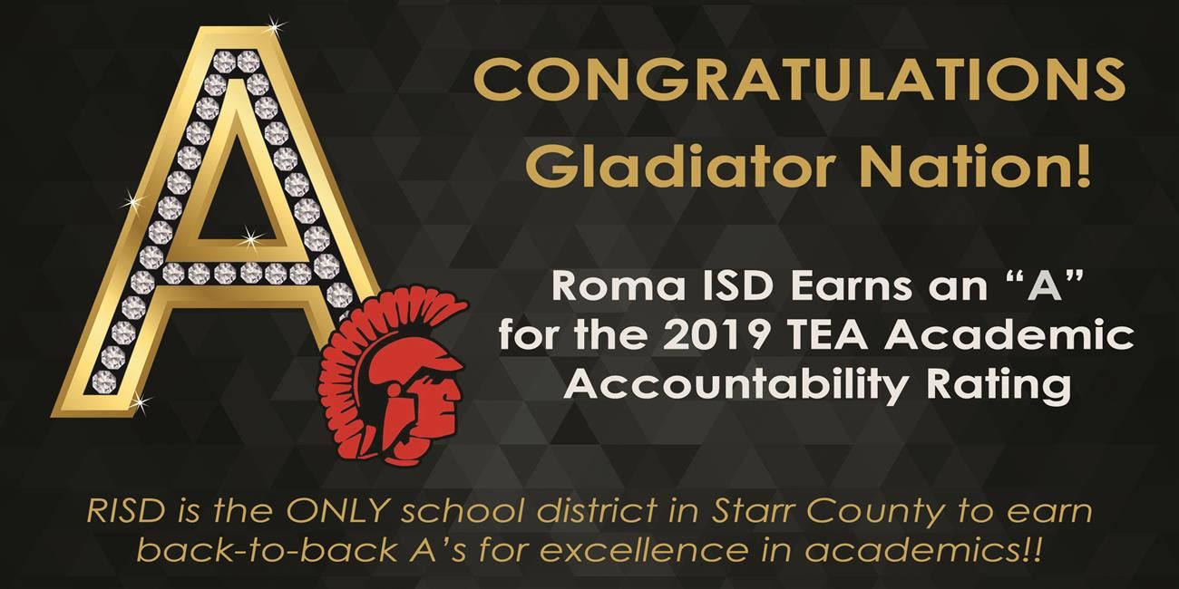 "Roma ISD Earns Back-to-Back ""A's"" for Academics from TEA"