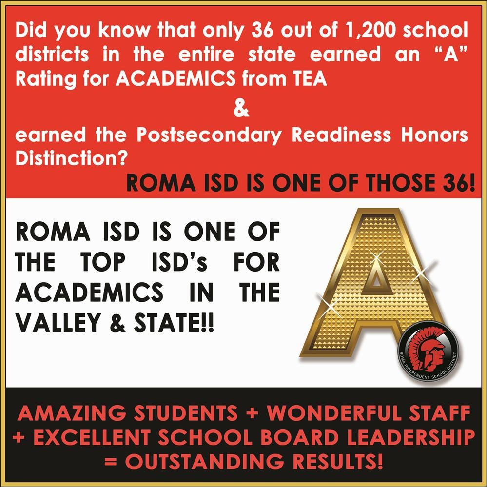 Roma ISD Rated Among Top in Academics in Valley, State